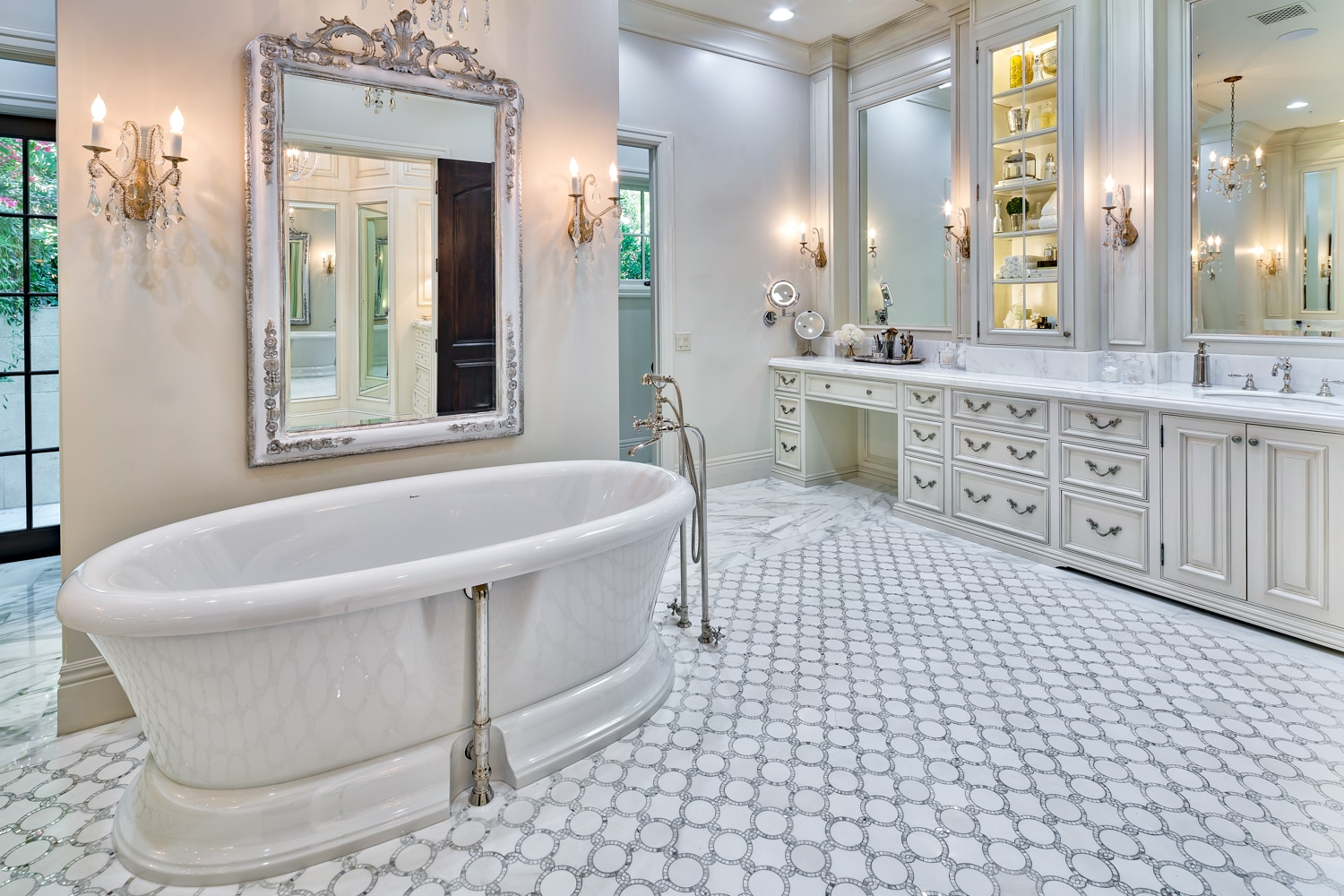 Spectacular White Master Bath with Marble Tub